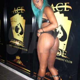 Lady Kush of Ace of Spades Adult Entertainment Club strikes a pose for ourcameras.