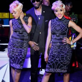 Anthony MinottBounty Killer flanked by twin act K-Queens at his birthday celebrations.