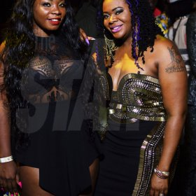 Anthony Minott/freelance photographer  Dancehall artistes Stacious (left) and Pamputtae pose for the camera at Bounty Killer's birthday party held Saturday night at the Waterfront, downtown Kingston.