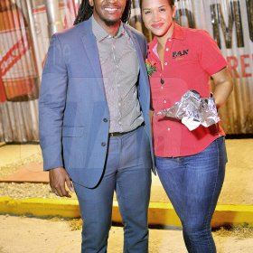 Anthony Minott Minister of state in the Ministry of Culture, Gender, Entertainment and Sports Alando Terrelonge with Alicia Bogues, regional development manager at CB Foods at the launch of PAN 2018.