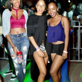 Anthony Minott  Rrepresenting for the 90s Recall retro party are Shawna-Kay (left), Peta-Gaye (centre) and Kaydiann. *** Local Caption *** Anthony Minott  Rrepresenting for the 90s Recall retro party are Shawna-Kay (left), Peta-Gaye (centre) and Kaydiann.