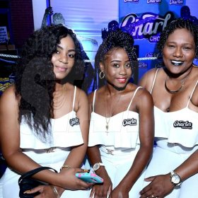 ContributedFrom left are Venesha Vincent, Trishakinne Fagan and Danna Palmer at Charles Chocolates Dancin' Dynamites 2018 Launch at Limelight Nightclub in Half Way Tree on January 6, 2018