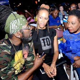 Rudolph Brown/PhotographerOlivia Grange, (right) Minister of Culture, Gender, Entertainment and Sport chat with Judges Kerry-Ann Henry and Orville Hall at the Charles Chocolates Dancin' Dynamites 2019 Launch at Emancipation Park on Saturday January 5, 2018