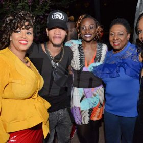 Rudolph Brown/PhotographerFrom left are Crystal Carby, Representative of Devon Biscuits, Dancer Chin, Jenny Jenny, Olivia Grange, Minister of Culture, Gender, Entertainment and Sport and Roxanne Brown, Brand Manager of Charles Chocolates at the Charles Chocolates Dancin' Dynamites 2019 Launch at Emancipation Park on Saturday January 5, 2018