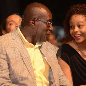Shorn Hector/Photographer  Minister of Education the Hon. Ruel Reid and Attorney General, Marlene Malahoo Forte smiling during light conversation  at the Seville Emancipation Jubilee 2018
