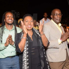 Shorn Hector/Photographer  From LeftMinister of State in the Ministry of Culture, Gender, Entertainment and Sport, Alando Terrelonge, Minister of Culture, Gender, Entertainment and Sport, Olivia Grange and Minister of Education Ruel Reid take part in the singing and dancing at the Seville Emancipation Jubilee 2018