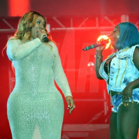 Jermaine Barnaby/Freelance Photographer Spice (right) and Miss Kittyy at the Magnum live concert held at Sabina Park on Saturday January 7, 2017.