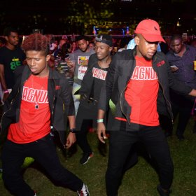 Jermaine Barnaby/Freelance Photographer This trio of dancers were dancing up a storm at the  Magnum live concert held at Sabina Park on Saturday January 7, 2017.