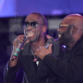 Jermaine Barnaby/Freelance Photographer Bounty Killer performing with Richie Stephens at the Magnum live concert held at Sabina Park on Saturday January 7, 2017.