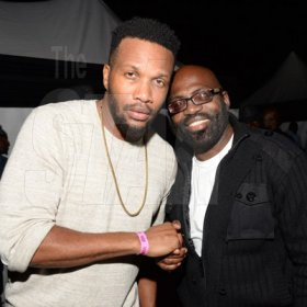 Jermaine Barnaby/Freelance Photographer Agent Sasco (left) and Richie Stephens backstage at the Magnum live concert held at Sabina Park on Saturday January 7, 2017.