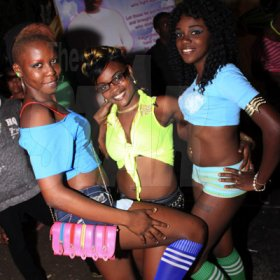 Anthony Minott/Freelance Photographer  Dark Diamond dancers were also in attendance, here they pose for a photo opt during Pon Di Spot Fridayz held at Headley Avenue, Drewsland every two weeks..
