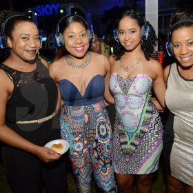 Rudolph Brown/Photographer From left are  Rochelle Rowe, Jodi-Ann Mullings, Latoya Douglas and Racquel Watson at Quiet party at Devon House on Friday, December 11, 2015