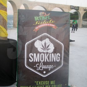 Mel Cooke  The smoking area sign at teh Herb Curb are of Rebel Salute 20916, Grizzly's Plantation Cove, Priory, St Ann.