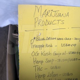 Mel Cooke<\n>A list of marijuana products and prices at Herb Curb.