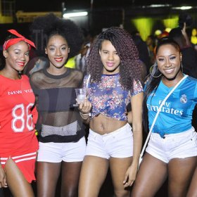 Anthony Minott  Hot and classy. Meet (from left) Gabrielle Hamilton, Nisa Wynter, Chris-Ann Hunter, Tasha-Gaye Wilson and Brittania Rose at  Strictly2k held Friday night at Mas Camp.