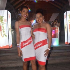 From left Kamoy Green and Christina McKenzie of Ace Promotions repping Red Stripe